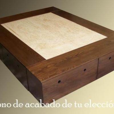 Crear un mueble base cama con amplio espacio de cajones for Mueble cama con cajones