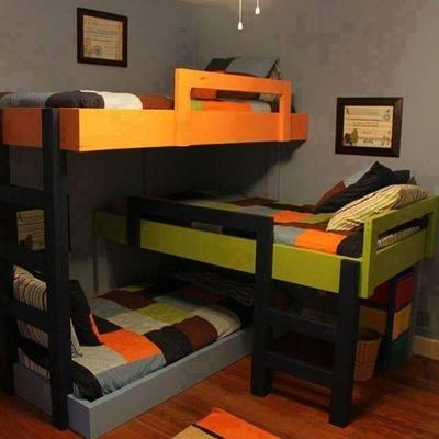 Hacer litera 3 camas individuales para departamento con - Literas de 3 camas ...