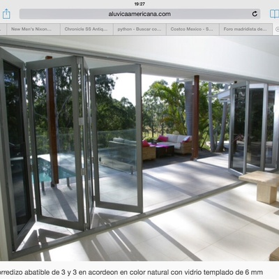 Puerta plegable aluminio vidrio para un claro de 3 10x2 40 for Puerta plegable aluminio
