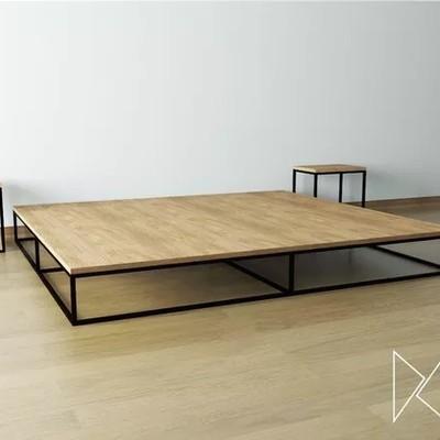 Base para colch n king size hierro madera alfonso for Colchon para cama king size