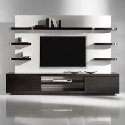 Crear un mueble para tv de madera color gris tanto la for Mueble de 5 repisas