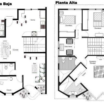 Proyecto y construcci n casa terreno de 200m2 durango Planos de casas de 200m2