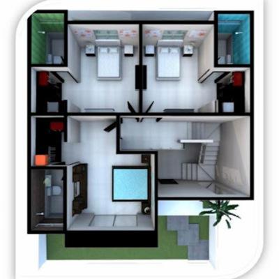 Construir casa 3 recamaras amplias en terreno de 10x22 Planos de casas 2 recamaras