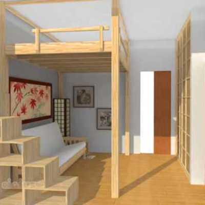 Construir con madera un tapanco o altillo en habitaci n - Como hacer un altillo de madera ...